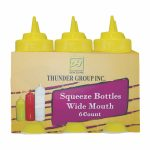 Thunder Group 24 Oz Wide-Mouth Squeeze Bottle, Yellow (6Pk)
