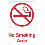 Thunder Group 6″ X 9″ Information Sign With Symbols, No Smoking Area