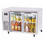 TurboAir J Series Glass Door Undercounter Side Mount Refrigerator, two section, 15 cu. ft,1/4HP, cETLus, ETL, 4.8 amps