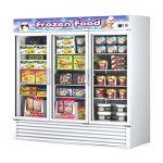 TurboAir Freezer Merchandiser, three-section, 72 cu. ft, self-contained, black exterior, (2) 1-1/4-HP, ETL, cETL