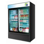 TurboAir Refrigerated Merchandiser, two-section, 48 cu. ft, black cabinet w/black trim, 1/2 HP, NSF, UL cUL, ETL, cETL