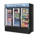 TurboAir Refrigerated Merchandiser, three-section, 72 cu. ft, black cabinet, 3/4 HP, NSF, UL cUL, ETL, cETL