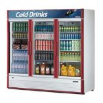 TurboAir Super Deluxe Refrigerated Glass Merchandiser, three section, 71.3 cu. ft, white interior, 2/3 HP, ETL, cETLus