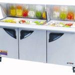 TurboAir Super Deluxe Sandwich/Salad Unit, Mega Top, three-section, 23 cu. ft, (3) stainless steel doors w/recess handles, 1/2 HP, NSF 7, cETLus