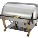 Winco Full Size Chafer W/Gold Plated Hdl & Leg