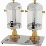 Winco Double Juice Dispensers W/Gold Leg, 2X7-1/2Qt