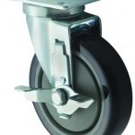 Winco Universal 2 3/8″ X 3 5/8″ Plate Casters W/Brake, 5″ Wheel, 2Pc Set