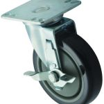 Winco Universal 3.5″ X 3.5″ Plate Caster With Brake, 5″ Wheel, 2Pc Set.