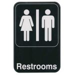 Winco 6″X9″ Sign, Black, Restrooms