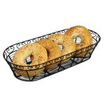 Winco Wire Bread/Fruit Basket, Black Oblong 15″X6 1/4″X3″
